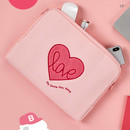 13 inch - Pink heart boucle canvas iPad laptop pouch case