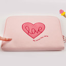 8mm foam pad - Pink heart boucle canvas iPad laptop pouch case