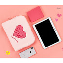 iPad - Pink heart boucle canvas iPad laptop pouch case