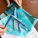 Aqua blue - Feel so good shine pencil case pouch with pencil cap