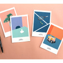 CommaB analog and modern illustration postcard