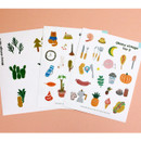 Oh my vintage illustration paper sticker set of 3 sheets
