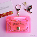 Neon pink - Feel so good shine card case book with key ring
