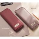 Royal burgundy, Milk cocoa - Oxford half zip around pocket pencil pouch