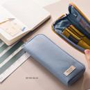 Retro blue - Oxford half zip around pocket pencil pouch