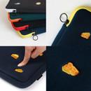 "Zip closure - Wanna This Tailorbird embroidered 13"" laptop pouch case ver4"