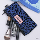 Blue - Second Mansion Bonjour leopard zipper pencil pen case pouch