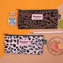 Second Mansion Bonjour leopard zipper pencil pen case pouch