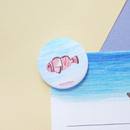 Example of use - Hello Today Hushed brown hand drawing round magnet