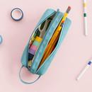 2 compartment - ICONIC Bonheur constant double zipper pencil case pen pouch