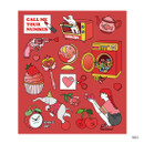 Red - Pop illustration colorful point paper deco sticker ver2