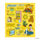 Yellow - Pop illustration colorful point paper deco sticker ver2