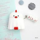 White - ROMANE Peep Peep AirPods case silicon cover with keyring