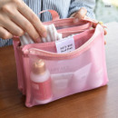 Pink - Play Obje Feel so good 3 pockets travel mesh zipper pouch