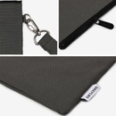 Real gray - Dailylike Oxford cotton flat zipper pouch with a strap