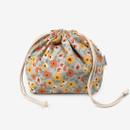 Dailylike Warm flower soft oxford cotton bucket drawstring pouch