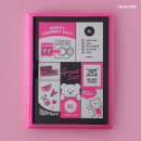 Neon pink - Rihoon Neon laundry hardcover 6-ring grid notebook