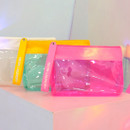 Rihoon Neon laundry large clear zipper pouch with strap