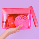 Example of use - Rihoon Neon laundry large clear zipper pouch with strap