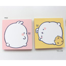 Pink, Yellow - Bookcodi Blooming day with Molang cute memo notepad