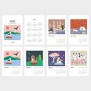 Calendar pages - Dailylike 2020 Cute illustration small desk flip calendar