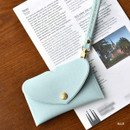 Blue - Play Obje Lovely heart pocket card case holder with strap