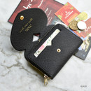 Black - Play Obje Lovely heart PU zipper and snap button wallet