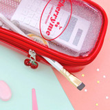 Red - Second Mansion Cherry me twinkle PVC daily zip pouch