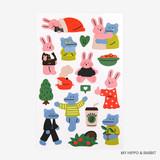 My hippo & rabbit - Dailylike My buddy removable paper sticker