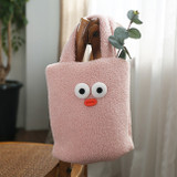 Pink - ROMANE Brunch Brother Pom Pom boucle tote bag
