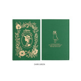Dark Green - Anne large hardcover undated monthly planner notebook