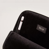 iPad pouch has pen holder - Moonwalker boucle canvas iPad laptop sleeve pouch case