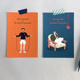 Usage example - Design Comma-B Analog and modern illustration postcard II