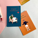 Design Comma-B Analog and modern illustration postcard II