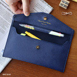 Navy Blue - Play Obje Classy synthetic leather wallet pencil case