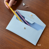 Blue - Play Obje Classy synthetic leather wallet pencil case
