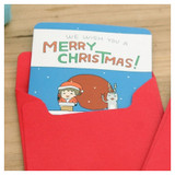 Merry christmas card with red envelope