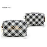 Check Gray - Monopoly Cherish every moment small PU zipper pouch case