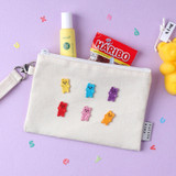Usage example - Wanna This Palette fabric zipper pouch with a strap