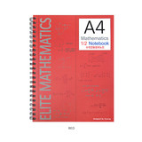 Red - 2young Elite Mathematics half perforated line blank notebook