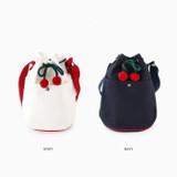 Color - ROMANE Cherry cotton crossbody bucket bag ver2