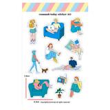 003 - Design comma-B Today illustration paper sticker