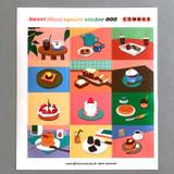 002 - Sweet dessert illustration squared paper sticker