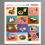 001 - Sweet dessert illustration squared paper sticker