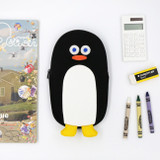 Black - ROMANE Brunch Brother penguin zipper pencil case