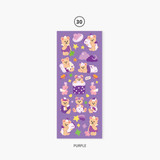 30 Purple - Second Mansion Juicy bear removable sticker seal 25-30