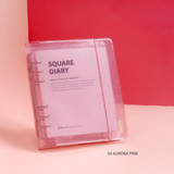 03 Aurora pink - Jam Studio Square 6-ring A6 wide dateless monthly planner