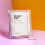 02 Aurora white - Jam Studio Square 6-ring A6 wide dateless monthly planner