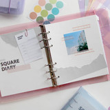 Lined note - Jam Studio Square 6-ring A6 wide dateless monthly planner