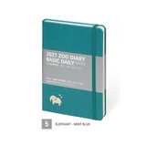 05 Elephant - Mint Blue - MINIBUS 2021 Zoo basic dated daily diary scheduler